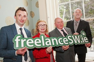 NUJ South West Freelance Directory launch 23-7-2015 Minister for Education Jan O'Sullivan T.D. officially launching the on line NUJ South West Freelance Directory in the company of Colm Ward, chairman of the NUJ South West , Seamus Dooley, Irish Secretary of the NUJ and Gerry Curran, Cathaoirleach of the Irish NUJ in the Culture House, Pery Square, Limerick Picture by Dave Gaynor